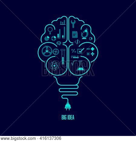 Concept Of Big Idea Or Creative Thinking, Shape Of Light Bulb Combined With Human Brain