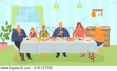 Family Dinner, Happy People Take Meal Together, Vector Illustration. Man Woman Kid People Character