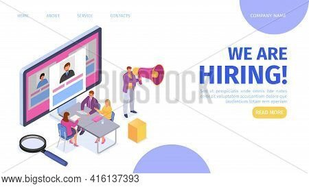Company Hiring Employee, Isometric Landing Banner, Vector Illustration. Business People Man Woman Ch