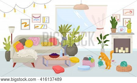 Home Interior, Flat Cozy Apartment With Modern Furniture, Vector Illustration. Hygge Room Design, Sc