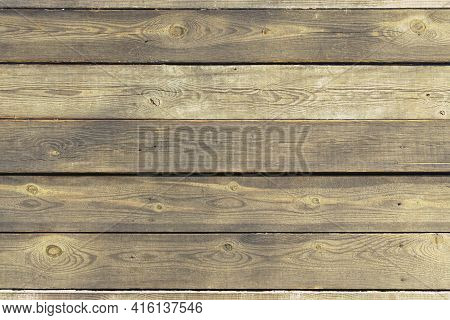 Close-up View Of Vintage Brown Wooden Background Texture. Shabby Brown Wooden Planks. Aged Wooden Pl