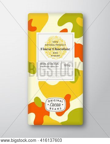 Kiwano Chocolate Label. Abstract Shapes Vector Packaging Design Layout With Realistic Shadows. Moder