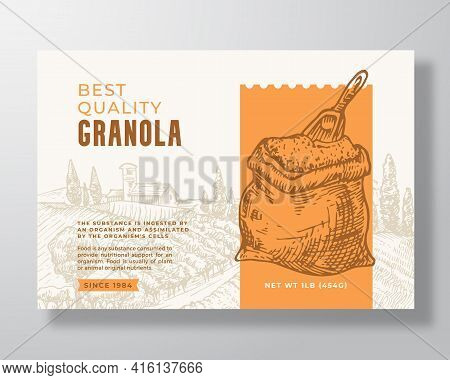Granola Cereal Label Template. Oatmeal Abstract Vector Packaging Design Layout. Modern Typography Ba