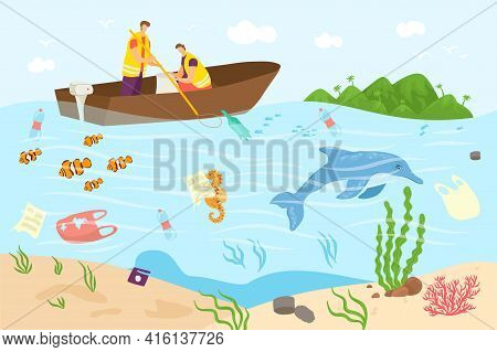 Ocean Pollution, Sea Water With Trash, Vector Illustration. Plastic Waste In Dirty Pond, Flat Man Wo
