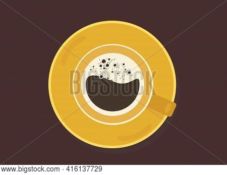 Vector Drawing Of A Cup Of Coffee With Froth. View From Above