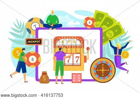 Online Casino, Gambling, Vector Illustration. Man Woman People Charcater Play In Jackpot Design, Car