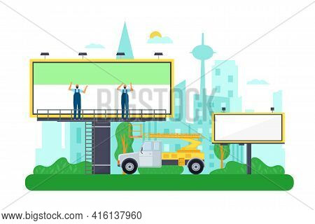 Replacement Billboard, Advertising Banner Painting, Vector Illustration. Man Person Work With Commer