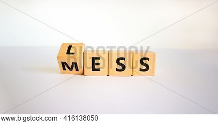 Less Mess Symbol. Turned The Cube And Changed The Word 'mess' To 'less'. Beautiful White Table, Whit