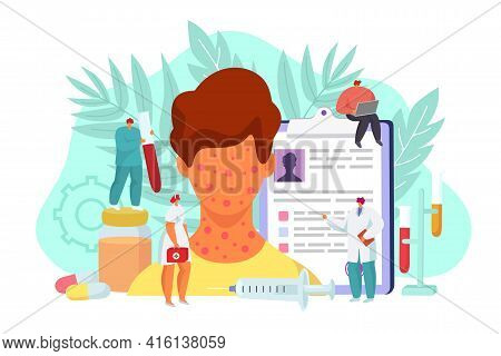 Skin Allergy Treatment Concept, Vector Illustration. Medical Health Care About Patient Face Skin, Ca
