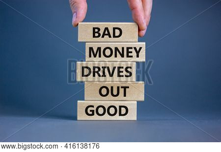 Business Concept Growth Success Process. Wood Blocks On Grey Background, Copy Space. Businessman Han