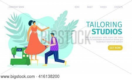 Tailoring Studios Concept, Template Banner, Vector Illustration. Tailor Fix Costumer Woman Character