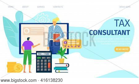 Tax Consultant, Financial Business Service, Vector Illustration. Woman Character Provide Finance Man