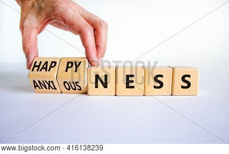 Happyness Or Anxiousness. Doctor Turns Cubes And Changes The Word 'anxiousness' To 'happyness'. Beau
