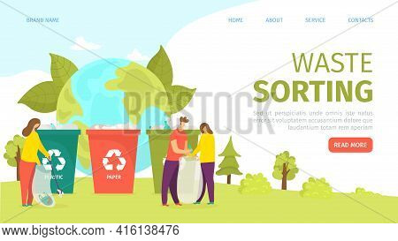 Waste Sorting, Garbage Container With Recycling Sign, Landing Page, Vector Illustration. Man Woman P