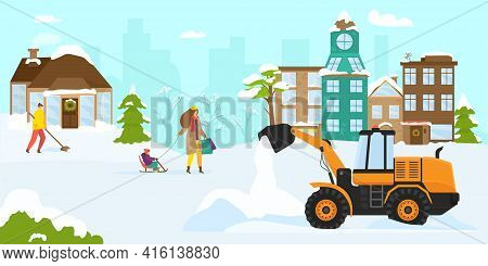 Snow Clearance Machine Equipment, Vector Illustration. Transport Cleaning Street From Snow, Snow Plo