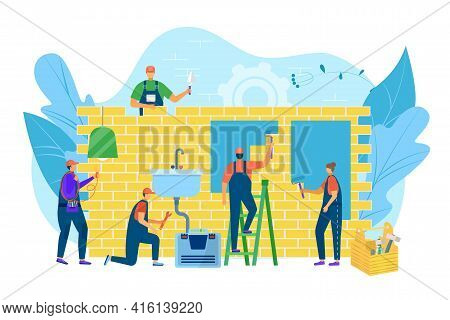Home Renovation, Worker Near Wall Construction, Vector Illustration. Man Woman People Character Pain