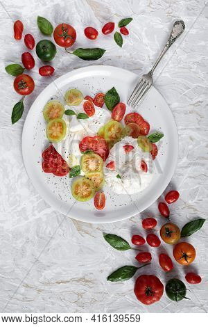 Appetizer Healthy Eating With Burrata Cheese Tomatoes And Basil