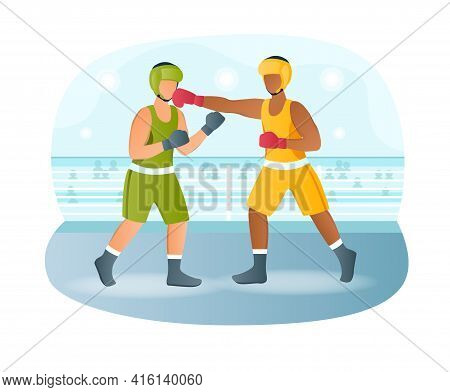 Two Male Characters Are Fighting On Boxing Match In Ring. Professional Boxers In Sportswear And Equi