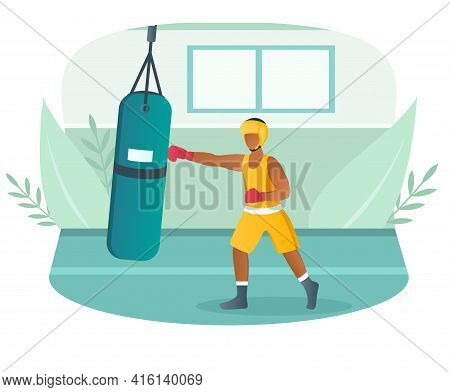 Male Boxer Dressed In Sportswear Training With Punching Bag In Gym. Concept Of Boxing Workout, Sport