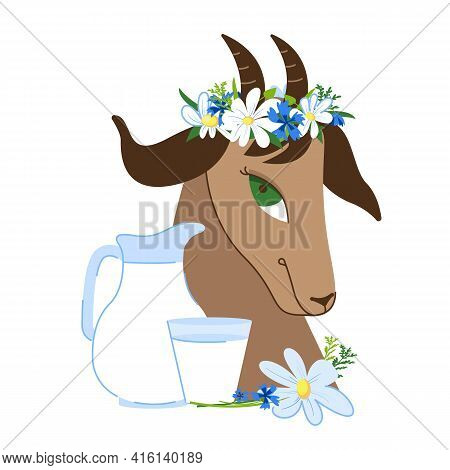 Brown Goat With A Wreath Of Wildflowers On Its Head. Jug And Glass. Goat Milk. Dairy Farm, Organic,