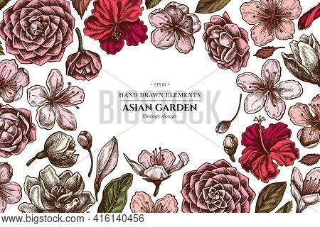 Floral Design With Colored Hibiscus, Plum Flowers, Peach Flowers, Sakura Flowers, Magnolia Flowers,