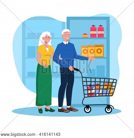 Cute Elderly Couple At The Store With Purchases In Cart. Grey Haired Elderly People Together Bying G