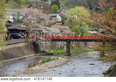 Takayama, Japan - April 29, 2012: People Visit Cherry Blossoms In Takayama, Japan. Takayama Is Among