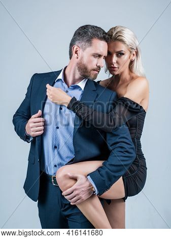 Sexy Man And Woman In Love Embrace Having Romantic Relations, Romance