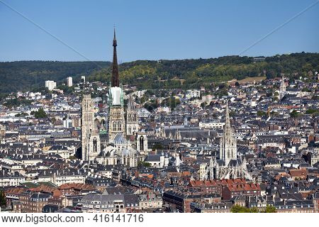 Aerial View Of The Cathedral Of Rouen And The Church Of Saint-maclou In Rouen, Normandy, France.