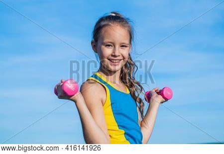 Happy Teen Girl Wear Sportswear For Training With Barbells On Sky Background, Physical Training