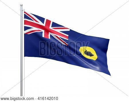 Western Australia (state Of Australia) Flag Waving On White Background, Close Up, Isolated. 3d Rende