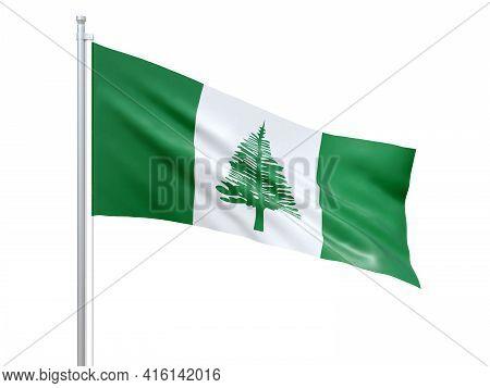 Norfolk Island (australian External Territory) Flag Waving On White Background, Close Up, Isolated.