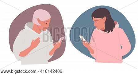 Two Girls Talk On Phone. Two Beautiful Women Are Texting Each Other. Flat Vector Illuctration. Two C