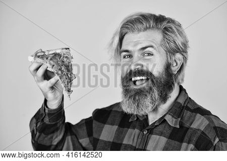In Mood For Italian Food. Man Bearded Hipster Hold Pizza. Pizza Delivery Service. Delivering Food To