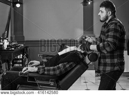 Barbershop Services. Barbershop Client. Trimming Beard. Perfect Look. Shaving Facial Hair. Understan