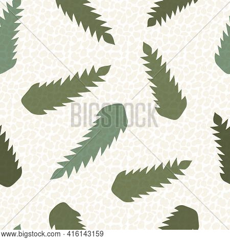 Abstract Dandelion Leaves Seamless Vector Pattern Background.stylized Mix Of Herbacious Sage Green G
