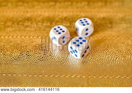 Dice On A Gold Background. Collection Of Dice Cubes