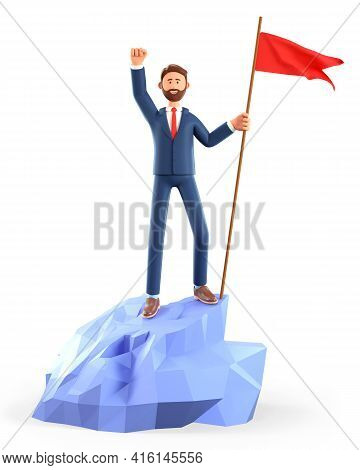 3d Illustration Of Smiling Man Hoisting A Red Flag On The Top Mountain. Cute Cartoon Happy Businessm