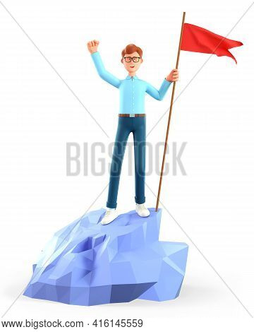 3d Illustration Of Cheerful Man Hoisting A Red Flag On The Top Mountain. Cute Cartoon Happy Business
