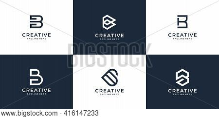 Set Of Creative Letter B Logo Vector Design Bundle Inspiration. Logo Can Be Used For Icon, Brand, Id