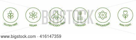 Natural Cosmetic Icons. Skincare Logo. Pesticides Free, Vegan, Bio, Non Toxic, Certified Labels. Bea