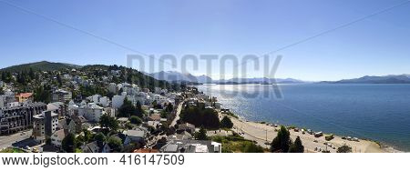 Bariloche, Argentina, Feb 8: Panoramic View On Bariloche And The Lake With Blue Sky - Patagonia. Arg