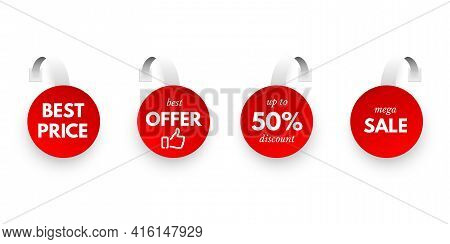 Clearance Sale Round Sticker Tag Set Isolated On White Background. Red Discount Vobler Bundle. Best