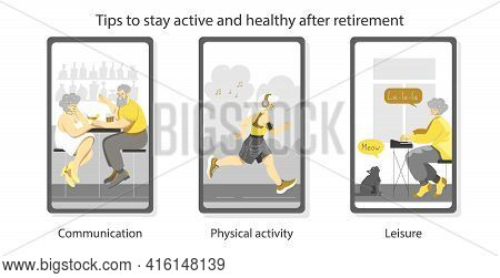 A Set Of Isolated Vector Images In Trendy Color Scheme. Mobile Application For Social Activity After