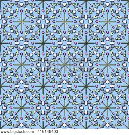 Seamless Abstract Pattern, Colored Volumetric Mosaic In Blue And Light Blue Tones. Small Round Shape