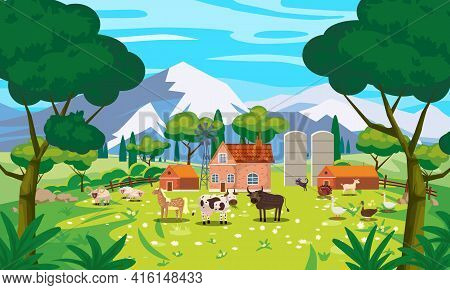 Rural Landscape Farm Scenery View, Mountaines, Green Meadow, Flowers, Trees. Countryside Nature, Far