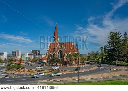 Windhoek, Namibia - Jan 19. 2021: The Christ Church Or Christuskirche Is A Historic Landmark And Lut