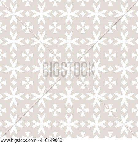 Vector Geometric Seamless Pattern With Flower Shapes, Crosses, Diamonds. Subtle Beige And White Flor
