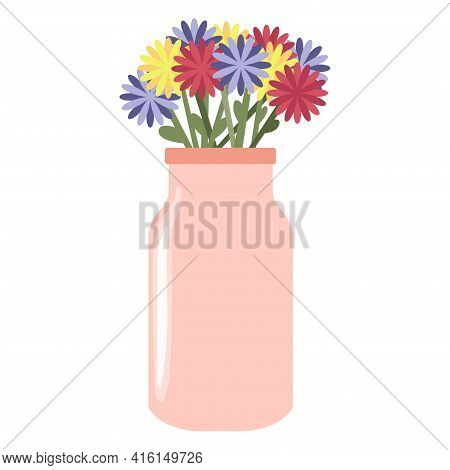 Colorful Chamomile In Beautiful Vase. Floral Vase. Blooming Spring Flowers. Flowers For Celebration.