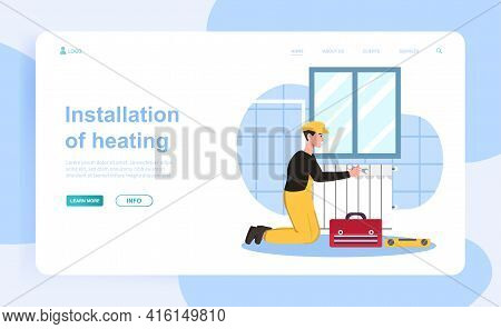 Cheerful Male Plumber Is Installing New Heating System. Man In Workwear With Wrench Installing House